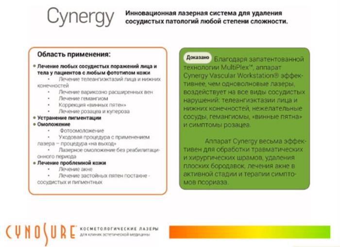 Лазерная система Cynergy применяется по следующим показаниям