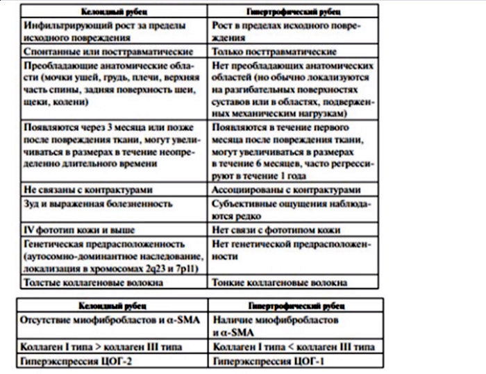 Основные дифференциально-диагностические критерии гипертрофических и келоидных рубцов
